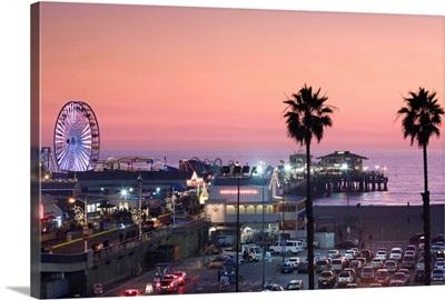 California, Los Angeles, Santa Monica, Santa Monica Pier, dusk