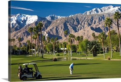 California, Palm Springs, Desert Princess Golf Course and Mountains, winter