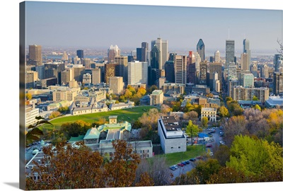 Canada, Quebec, Montreal. Downtown from Mount Royal Park