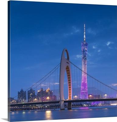 Canton Tower and Liede Bridge at dusk, Guangzhou, Guangdong, China