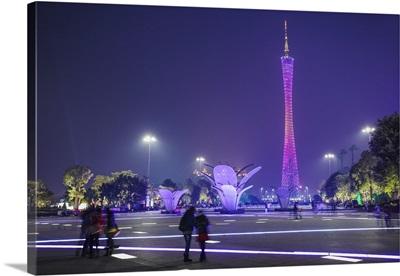 Canton Tower at dusk, Guangzhou, Guangdong, China