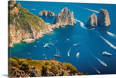 Capri island, Naples, Italy. Aerial view of Faragliioni and coastline from Anacapri