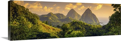 Caribbean, St Lucia, Petit (near) and Gros Piton Mountains
