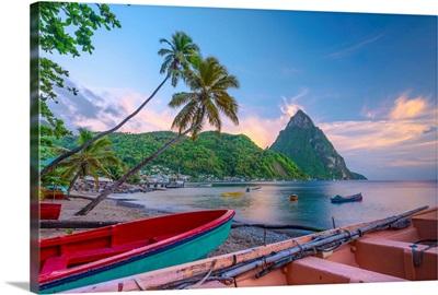 Caribbean, St Lucia, Soufriere, Soufriere Bay, Soufriere Beach and Petit Piton