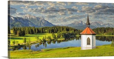 Chapel At Hergratsrieder See Lake, Allgau, Swabia, Bavaria, Germany