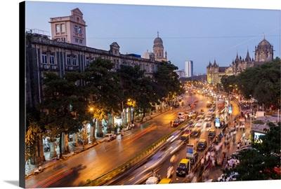 Chhatrapati Shivaji Terminus train station and central Mumbai, India
