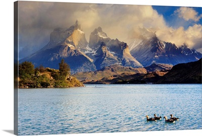 Chile, Patagonia, Torres del Paine National Park Cuernos del Paine peaks and Lake Pehoe