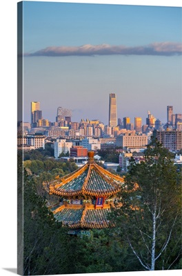 China, Beijing, Jingshan Park, Pavillion and Modern Chaoyang District skyline beyond