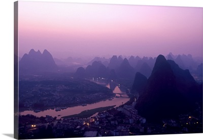 China, Guangxi Province, Yangshuo, The view from above Yangshuo just before sunrise