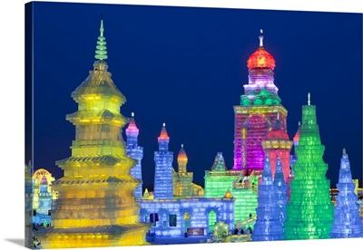 China, Heilongjiang Province, Harbin. Ice sculptures at the Harbin Ice and Snow Festival
