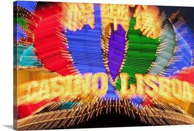 China, Macau, Casino Lisboa Neon Sign