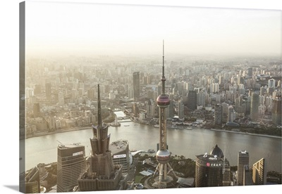 China, Shanghai. Elevated view of the city from World Financial center tower