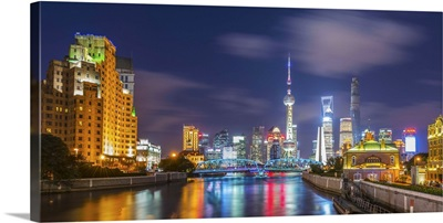 China, Shanghai, Financial District skyline, including Oriental Pearl Tower