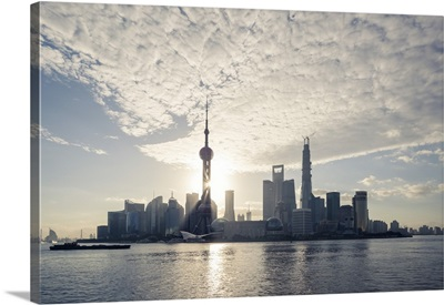 China, Shanghai. Pudong business district cityscape at sunrise