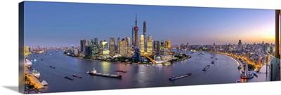 China, Shanghai, Pudong District Skyline across Huangpu River