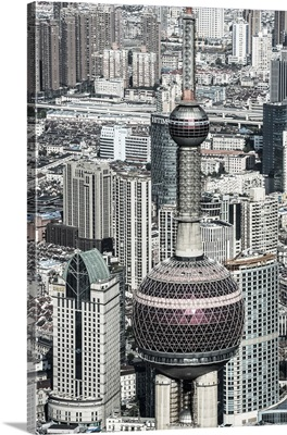 China, Shanghai, View over Pudong Financial District, Oriental Pearl Tower