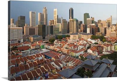 Chinatown, the Buddha Tooth Relic temple and modern city skyline, Singapore