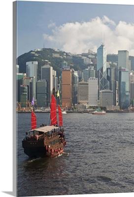 Chinese sailing junk on Victoria Harbour, Hong Kong, China