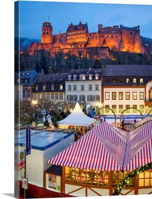 Christmas Market At The Karlsplatz In Heidelberg, The Heidelberg Castle, Germany