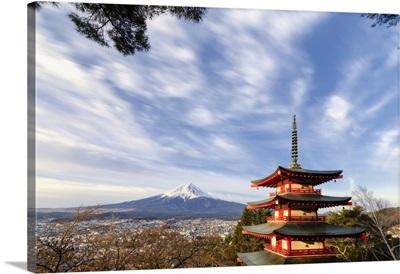 Chureito Pagoda And Fuji Yama, Fujiyoshida, Yamanashi, Japan