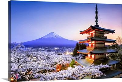 Chureito Pagoda with Mount Fuji during spring season