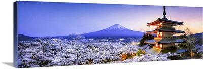 Chureito Pagoda with Mount Fuji during spring season, Fujiyoshida, Honshu Island, Japan