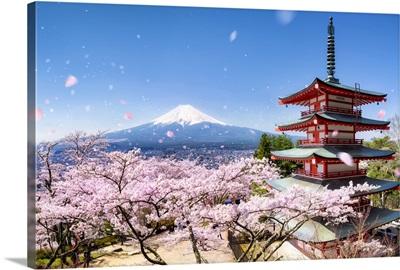 Chureito Pagoda with Mount Fuji during spring season, Honshu island, Japan