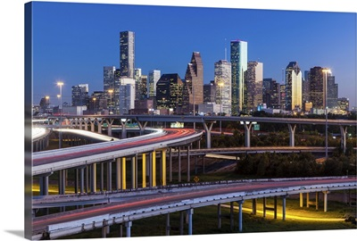 City skyline and Interstate, Houston, Texas