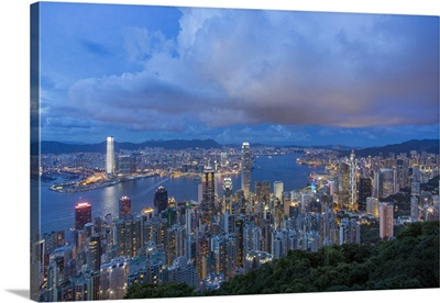 City skyline and Victoria Harbour viewed from Victoria Peak, Hong Kong, China
