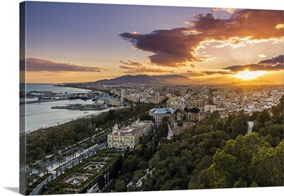 City skyline at sunset, Malaga, Andalusia, Spain