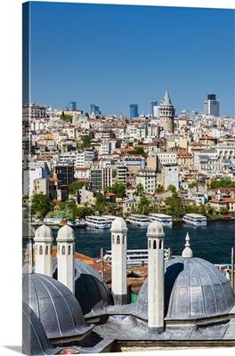 City skyline from Suleymaniye mosque complex, Istanbul, Turkey