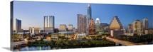 City skyline viewed across the Colorado river, Austin, Texas