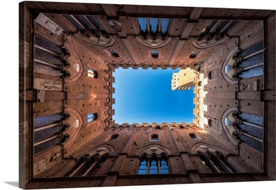 Classic Bottom View Of Palazzo Pubblico With Del Mangia's Tower At Dawn, Siena, Italy