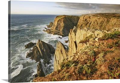 Cliff Landscape At Cabo Sardao, Portugal, Alentejo, Alentejo Litoral, Cabo Sardao