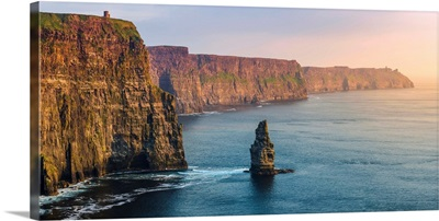 Cliffs of Moher.  Panoramic view of the cliffs towards the O'Brien's Tower