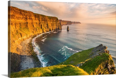 Cliffs of Moher, Republic of Ireland. View of the cliffs towards the O'Brien's Tower