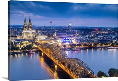 Cologne Cathedral, River Rhine And Hohenzollern Bridge, North Rhine Westphalia, Germany