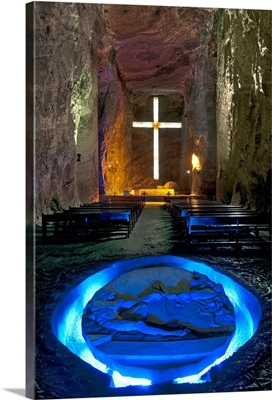 Colombia, Zipaquira, Cudinamarca Province, Salt Cathedral, Main Altar With Cross