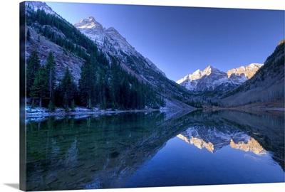 Colorado, Maroon Bells Mountain reflected in Maroon Lake