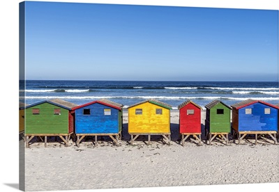 Colorful Beach Houses On The Beach, Muizenberg, Cape Town, Western Cape, South Africa