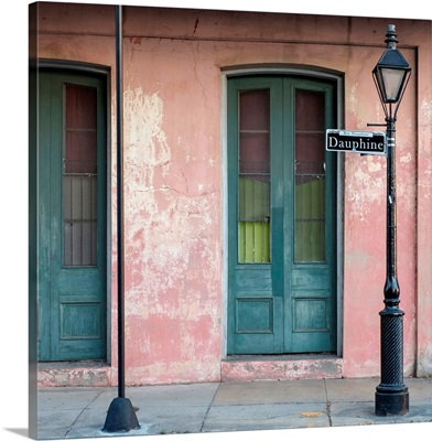 Colorful doors and windows in the French Quarter on Dauphine Street