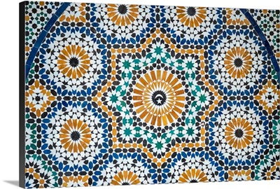 Colorful tiled mosaic at Marrakech Museum, housed in the 19th century Dar Menebhi Palace