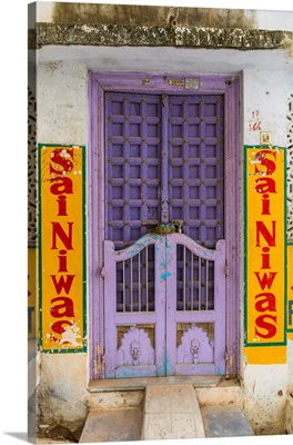 Colouful Door In The Old Town Of Udaipur, Rajasthan, India