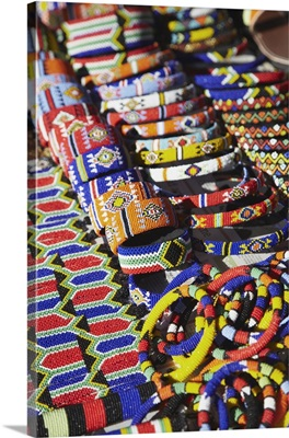 Colourful traditional African souvenirs, Durban, KwaZulu-Natal, South Africa