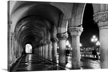 Columns of The Doge's Palace at night, Venice, Veneto region, Italy