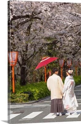 Couple In Kimonos On Kiya-Machi Dori, Kyoto, Kansai, Japan