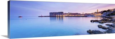 Croatia, Dalmatia, Dubrovnik,Sunset over the old town and harbour