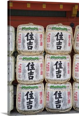 Decorative sake barrels at Shinto shrine of Sumiyoshi Taisha, Osaka, Kansai, Japan