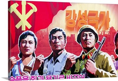 Democratic Peoples's Republic of Korea, North Korea, Propaganda poster