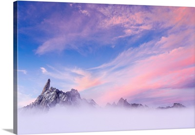 Dent Du Geant View With Rose Clouds, Aosta Valley, Italy